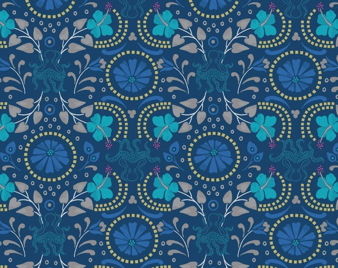 Lews & Irene Fabrics - Lindos - Blue with Gold Taverna A270.3 Cotton Woven Fabric