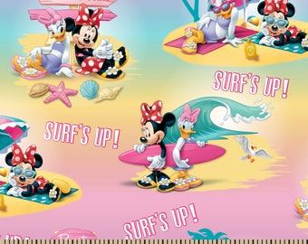 CLEARANCE -      Minnie Mouse and Daisy Surf's up Cotton Woven  - Price per yard