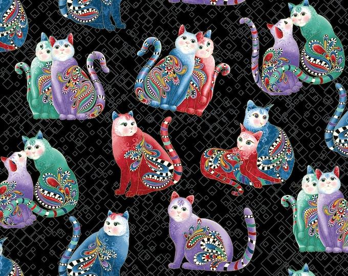 Benartex Fabrics - Cat-I-Tude 2 Purrfect Together by Ann Lauer -   Playful Cats - Black - Metallic    7559MB-12 Cotton Woven Fabric