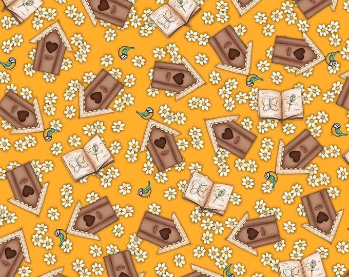 Santoro, Birds of a Feather, Birdhouses on Butterscotch yellow cotton woven fabric by Quilting Tresures