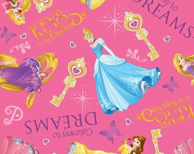 CLEARANCE -     Princess Keys To The Kingdom Disney, Cinderella, Belle, Rapunzel, Sleeping Beauty Cotton Fabric - Price per yard