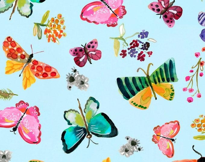 Dear Stella - Spring Theory - Aqua Butterflies   -  ST-DAW1092AQ Cotton Woven Fabrics