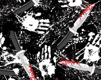 Blank Quilting - Ghoulish Gathering - Black Knife #9540G-99 Glow in the Dark Cotton Woven Fabric