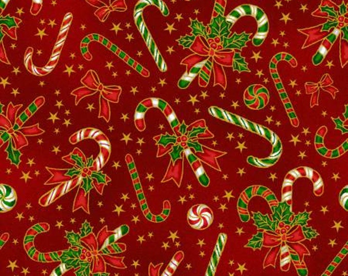 Red and Green Candy Canes metallic on red Cotton Woven, Fabriquilt