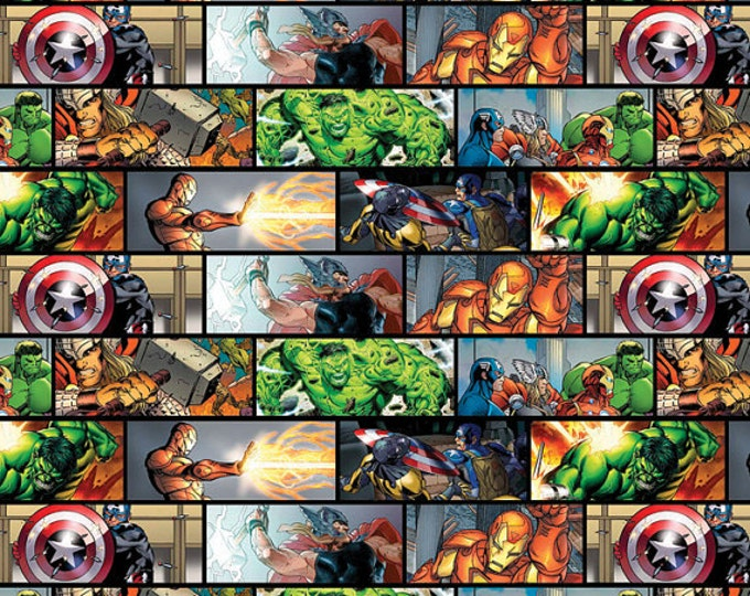 Sale - 1 yard listing ! OUT OF PRINT ! Super Hero Comic Patch Cotton Woven -  Ironman, Hulk, Captain America, and Thor