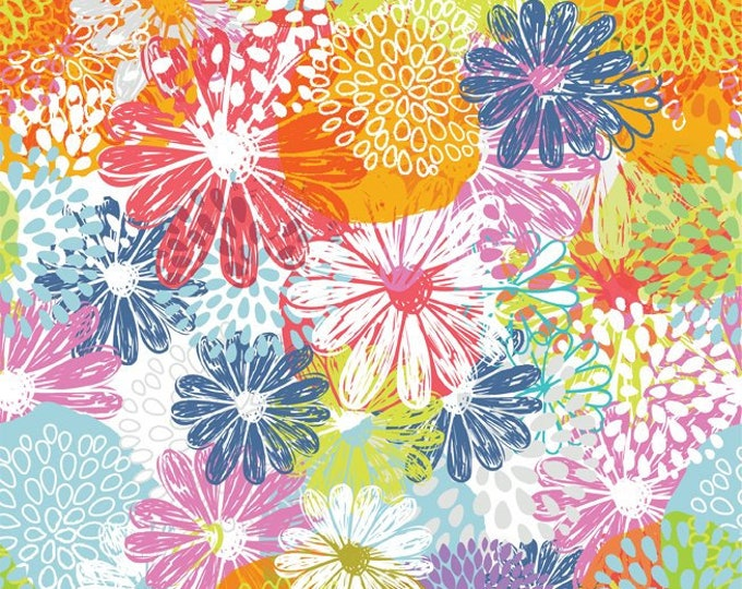 Doodle Blossom - Packed Flowers - Digitally Printed Cotton Woven Fabric