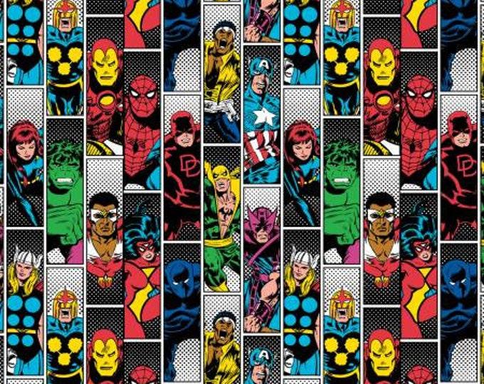 Camelot Fabric - Marvel Retro Comic Avenger Unite -  Bravery on Black- Cotton Woven Fabric