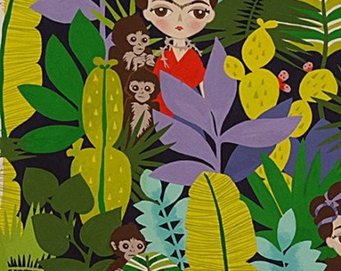 Alexander Henry Fabric -  Navy Ella con Changos (She with the Monkeys) Cotton Woven Fabric