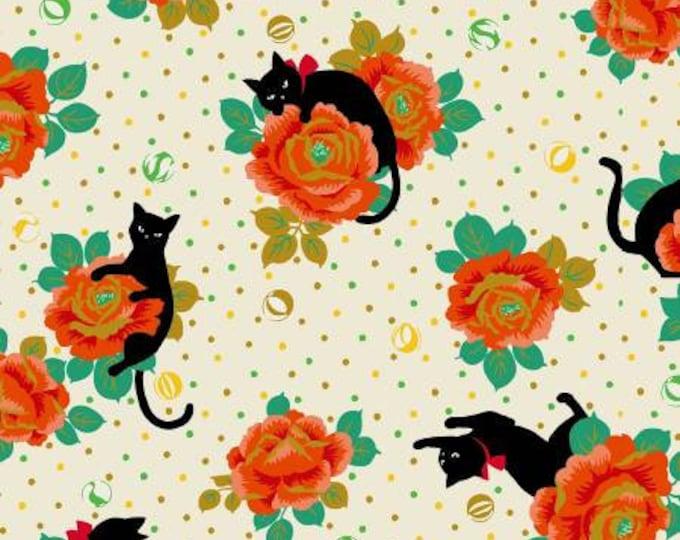 Hyakka Ryoran Neko 4 - Cats & Flowers - Cream - Metallic Cotton Woven Fabric from Japan