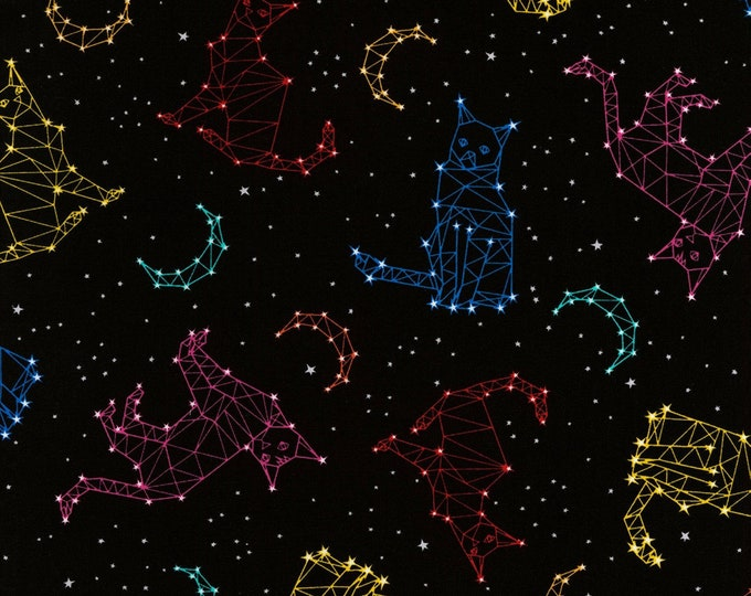 Timeless Treasures - Black Cat Constellation - Cotton Spandex Knit