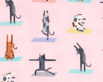 Timeless Treasures - Yoga Cats on Pink cotton woven fabric