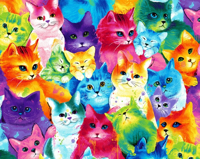 Timeless Treasures - Meow-Za by Chong-a Hwang - Painted Bright Cats - Cat-C7485-Multi  - Cotton Woven Fabric