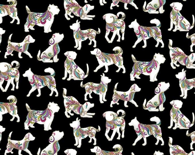 Benartex - Dog On It by Ann Lauer - Black Hot Diggity Large w/Metallic # 6254MB-12 - Cotton Woven Fabric