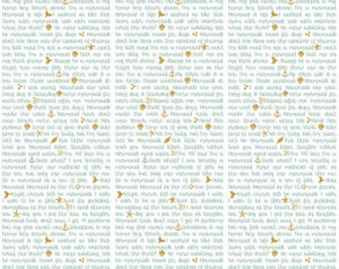 Riley Blake Fabrics - Lets Be Mermaids by Melissa Mortenson -White Shell Phone sc7614-white  Cotton Woven Fabric