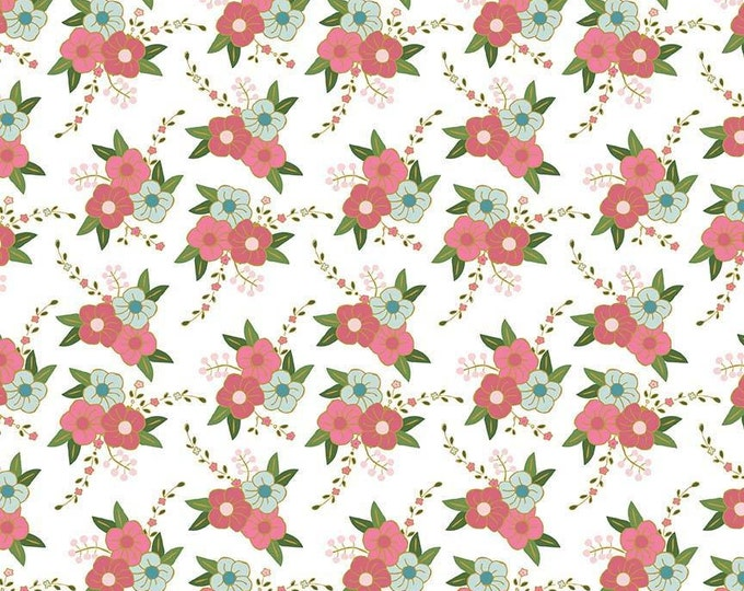 CLEARANCE -      Wonderland Floral Sparkle Cotton Woven on white, Riley Blake  - Price per yard