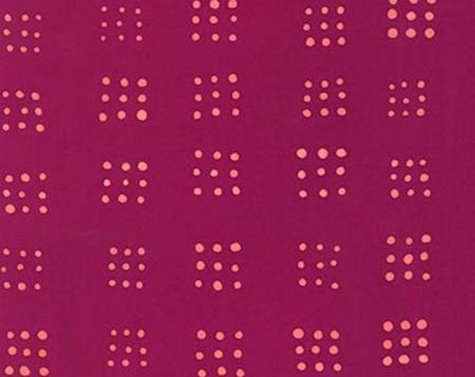 Dot Raspberry Square Mark to Make cotton batik fabric by Robert Kaufman