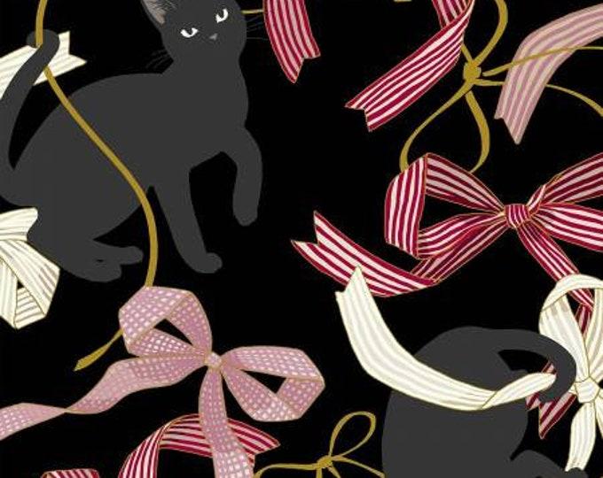 Hyakka Ryoran Neko 4 - Cats & Ribbon - Black - Metallic Cotton Woven Fabric from Japan