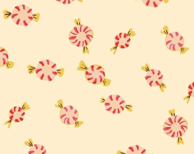 Windham Fabrics - Sugar Plum by Heather Ross - Peppermints - Cream - Cotton Woven Fabric