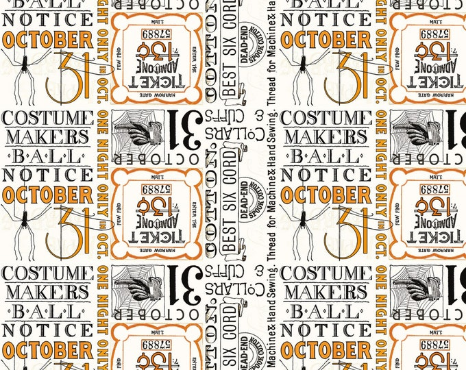 Riley Blake - Costume Makers Ball by Janet Wecker-Frisch - Ticket Text Cream #C8368R-CREAM Cotton Woven Fabric