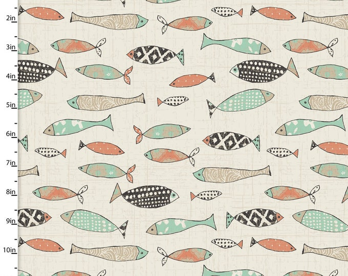 3 Wishes Fabrics - Give Me the Sea - Fish - Cotton Woven Fabric