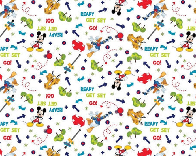 CLEARANCE -    ! Mickey Mouse and friends on the Go cotton woven fabric 1 Yard