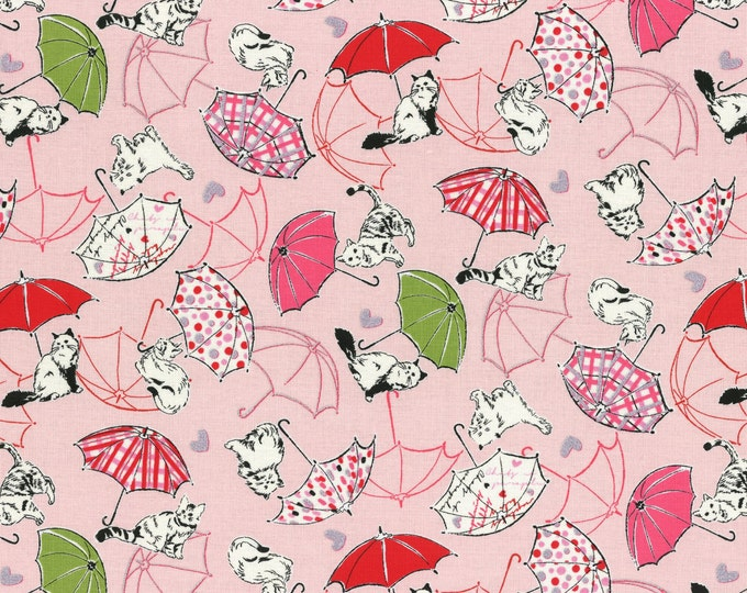 Lecien Fabrics - Candy Shop - Cat and Umbrella Metallic on Pink Cotton Woven by Lecien Fabrics Fabric