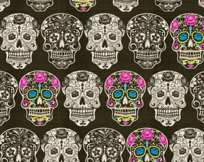 Calaveras Pink Skulls Cotton Woven by the Yard