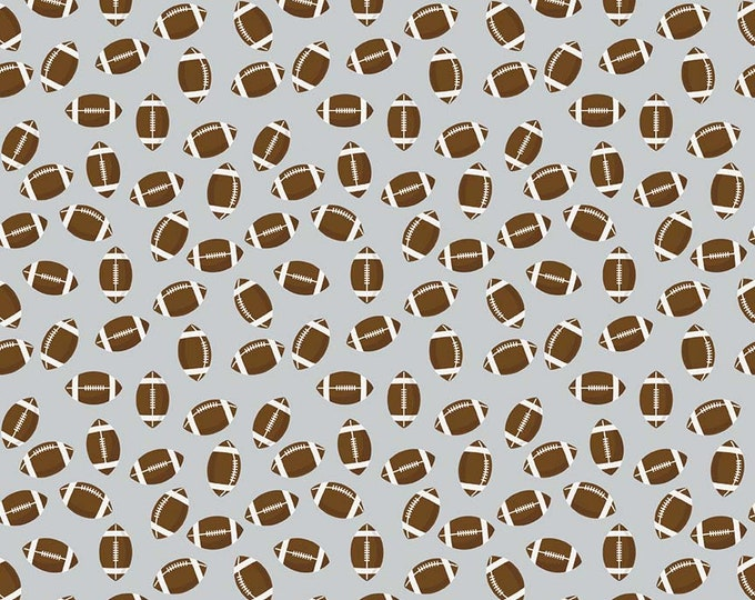 Riley Blake Fabrics - Varsity - Footballs of Gray - Cotton Woven Fabric