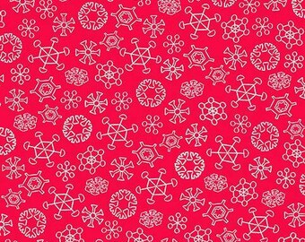 Quilting Treasures - Everyone's Favorite Snowman and Rudolph - Snowflakes on Red Cotton Woven Fabric