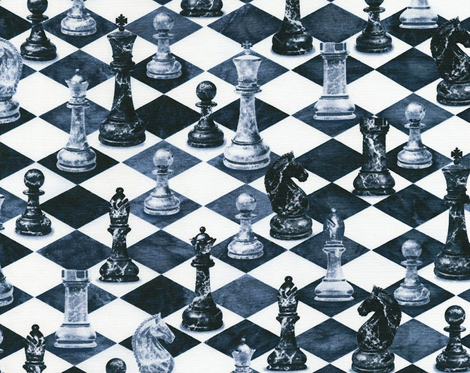 Timeless Treasures - Chess Slate Cotton Woven Fabric