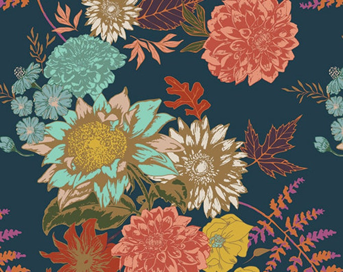 Art Gallery Fabrics - Autumn Vibes - Floral Glow - Twilight -  Cotton Woven Fabric - Maureen Cracknell