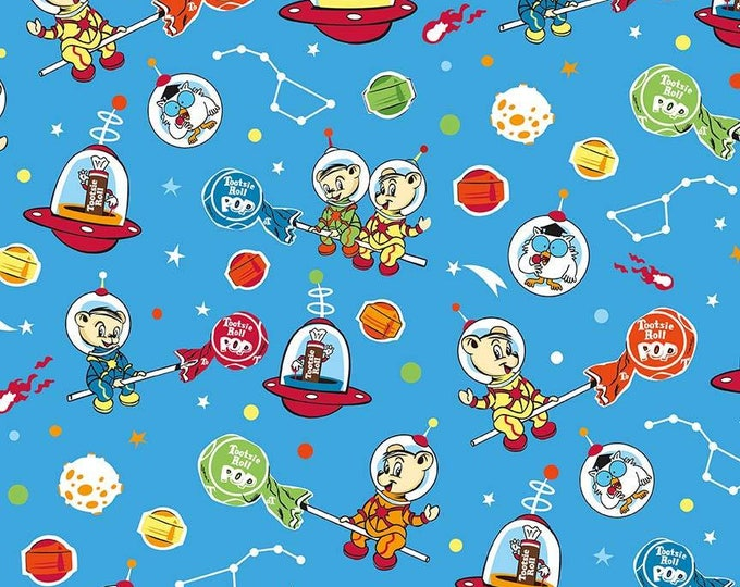 Tootsie Roll Main on Blue cotton woven fabric by Riley Blake