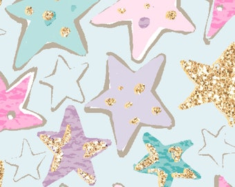 3 Wishes Fabric - Unicorn Sparkle - Turquoise Stars with Glitter # 15852-TRQ - Cotton Woven Fabric