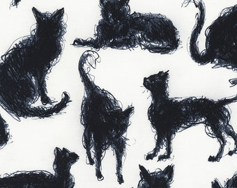 CLEARANCE -  Scribble Cats in Black & White cotton woven fabric = price per yard