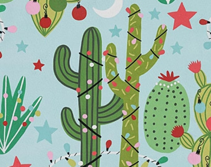 Cactus on Light Blue Cotton Woven by Alexander Henry