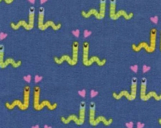 Green Worms on Blue Cotton Woven