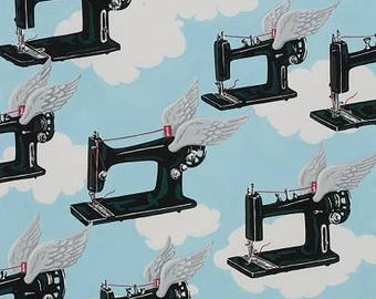 Alexander Henry Fabric - Sky Flying Sewing Machines blue Cotton Woven Fabric