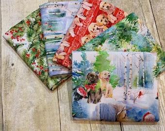 3 Wishes Fabric - Santa's Helper - Fat Quarter Bundle of 5 Prints -  Cotton Woven Fabric
