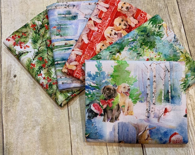 3 Wishes Fabric - Santa's Helper - Fat Quarter Bundle of 5 Prints -  Cotton Woven Fabric