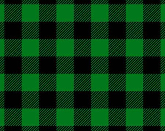 David Textiles - Hunter / Black Buffalo Plaid Flannel - 100% Cotton Flannel
