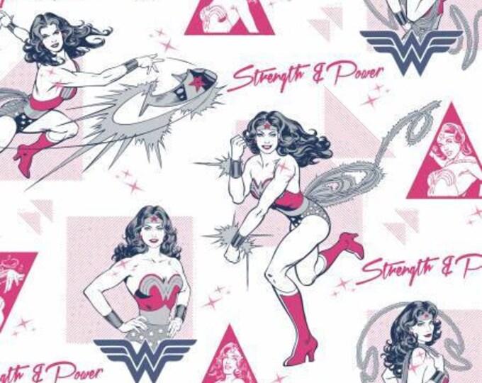 Camelot Fabric - Wonder Woman -  Strength and Power Magenta Cotton Woven Fabrics