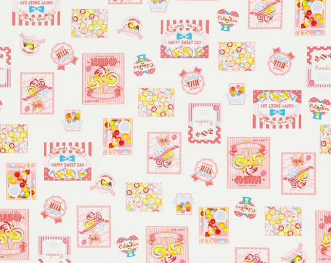 Candy, Gum, Sweets, Lollipop Light Pink Border Design Cotton Woven by Lecien fabrics