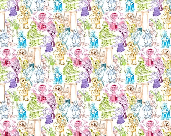 Muppets Rainbow Sketch Cotton Woven by Springs Creative