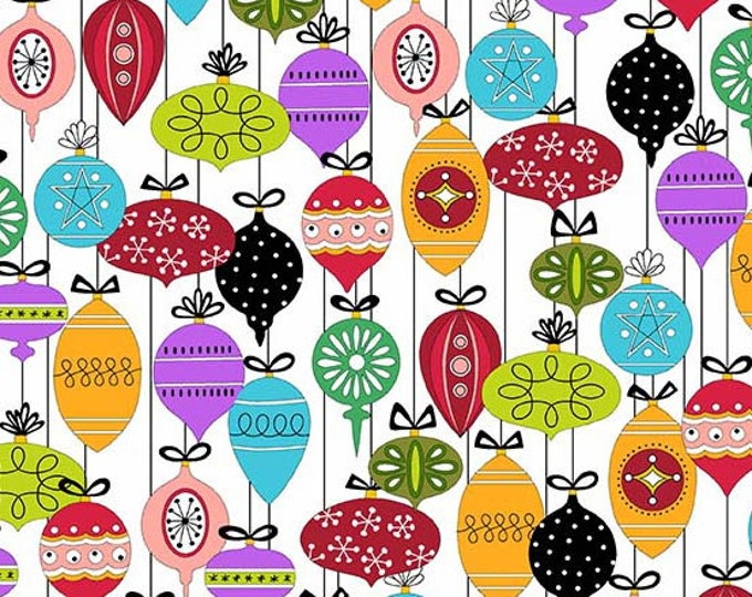 Holiday Tweets, Ornaments on White cotton fabric