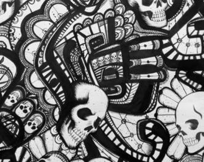 Catacombs Black and White, Alexander Henry Cotton Woven Fabric