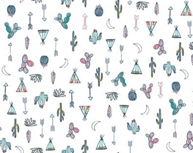 Dear Stella  - Llamaste - Desert Symbols on White Stella - 1176 Cotton Woven Fabric