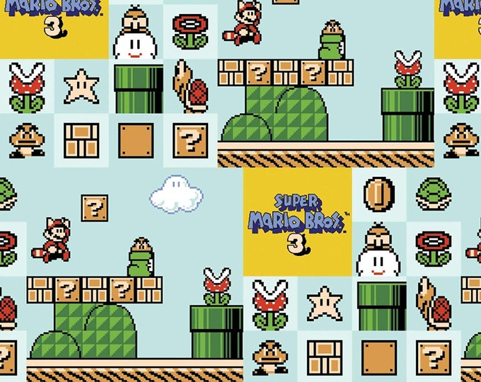Springs Creative - Nintendo Super Mario 3 on Blue cotton woven fabric
