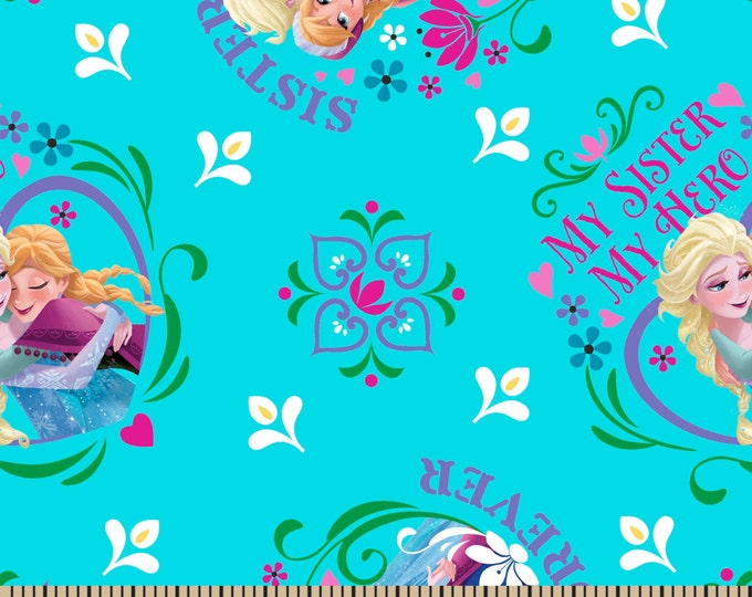 SALE !!! Elsa and Anna Frozen Sisters Forever on Blue 1 Yard Cotton Woven  - Price per yard !