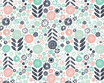 Camelot Fabric - Urban Jungle by Vicky Yorke - White Garden Floral #30180203-1 Cotton Woven Fabric