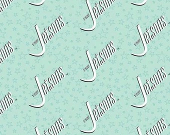 Camelot Fabric - The Jetsons - Blue Logo Cotton Woven Fabric